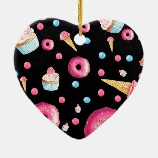 Black Donut Collage Ceramic Ornament