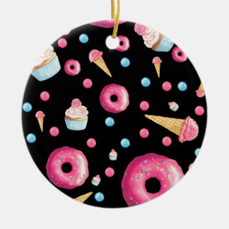 Black Donut Collage Ceramic Ornament