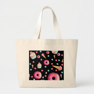 Black Donut Collage Large Tote Bag