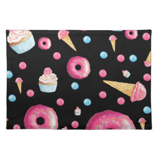 Black Donut Collage Placemat