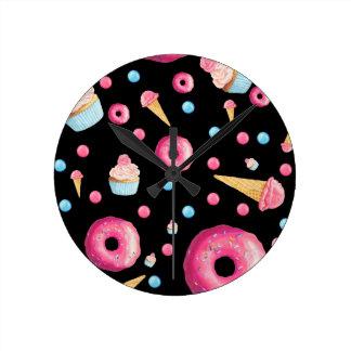 Black Donut Collage Round Clock