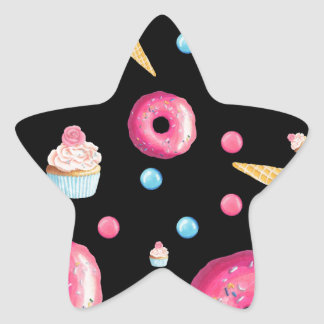 Black Donut Collage Star Sticker