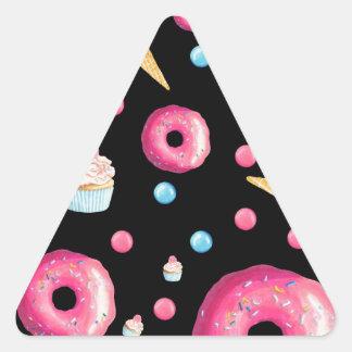 Black Donut Collage Triangle Sticker
