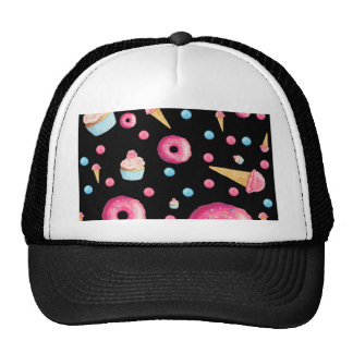 Black Donut Collage Trucker Hat