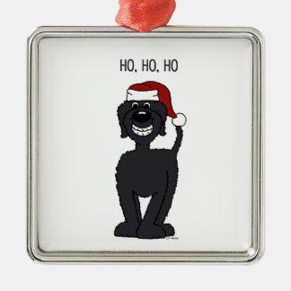 Black Doodle Santa Metal Ornament