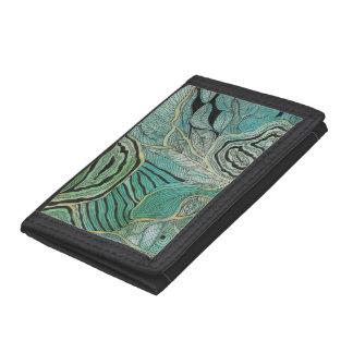 Black Doodled Leaves on Teal and Gold Wallet