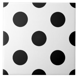 BLACK DOTS! (a polka dot design) ~ Tile