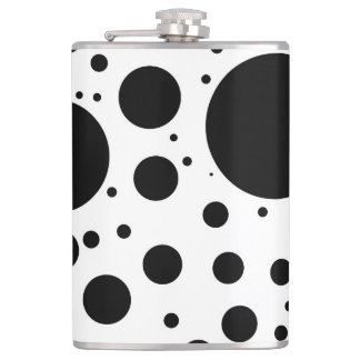 Black Dots and Circles on White in Varying Sizes Hip Flask