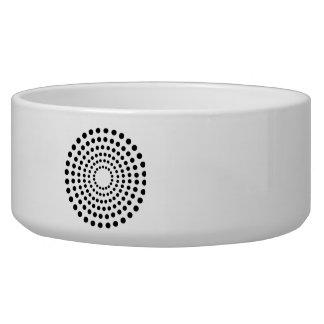 Black dots circles pet water bowls