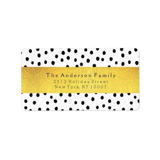 Black dots & gold address label