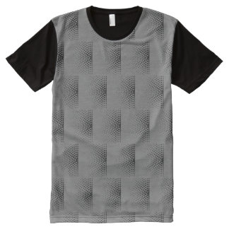 Black Dots In Semicircles On Gray Retro Pattern All-Over-Print T-Shirt