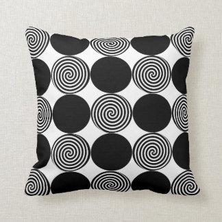 Black Dots & Swirls on White Throw Pillow
