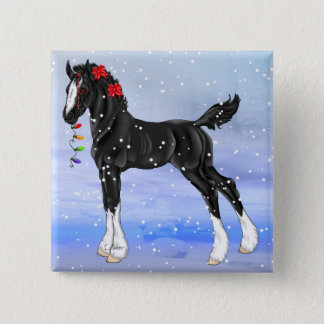 Black Draft Horse Foal Christmas 2 Inch Square Button