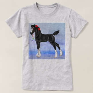 Black Draft Horse Foal Christmas T-Shirt