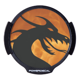 Black Dragon and Red Flame Background LED Window Decal