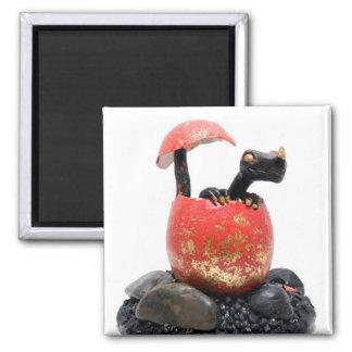 Black dragon hatching magnet