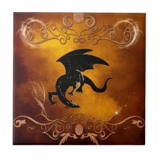 Black dragon in the sky tile