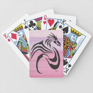 Black Dragon on Pinks Bicycle Playing Cards