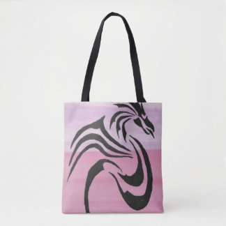 Black Dragon on Pinks Tote Bag