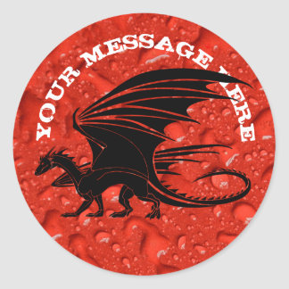 Black dragon on red background classic round sticker
