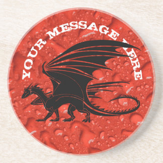 Black dragon on red background coaster