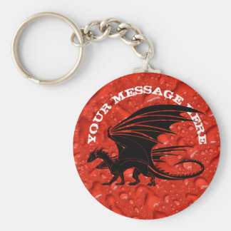 Black dragon on red background keychain