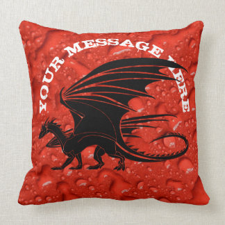 Black dragon on red background throw pillow