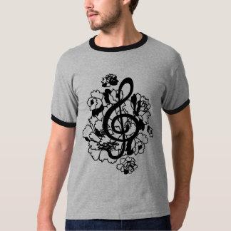 Black Dragon treble clef peonies Custom Shirt