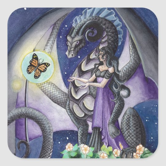 Black Dragon with butterfly dragon art Square Sticker