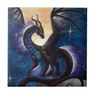 Black Dragon with Night Sky by Carla Morrow Tile