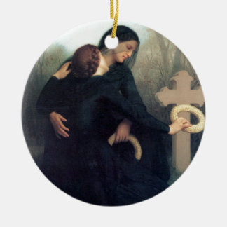 Black dress cross gothic women Bouguereau Ceramic Ornament