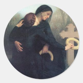 Black dress cross gothic women Bouguereau Classic Round Sticker