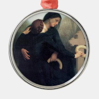 Black dress cross gothic women Bouguereau Metal Ornament