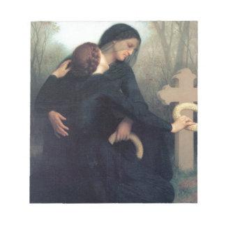Black dress cross gothic women Bouguereau Notepad