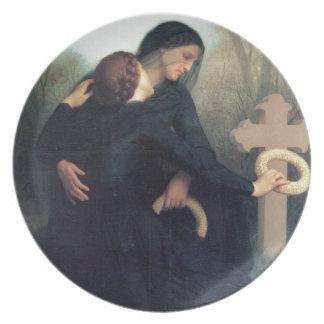 Black dress cross gothic women Bouguereau Plate