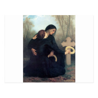 Black dress cross gothic women Bouguereau Postcard