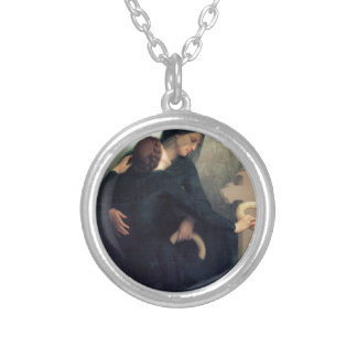 Black dress cross gothic women Bouguereau Silver Plated Necklace