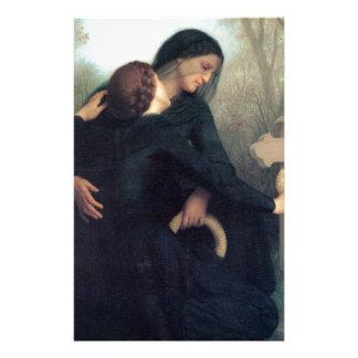 Black dress cross gothic women Bouguereau Stationery