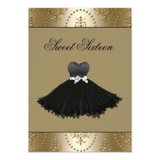 Black Dress Gold Chandelier Sweet Sixteen Birthday Card