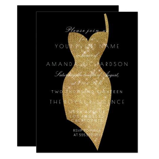 Black Dress Golden Sparkly Minimal Formal Sequin Card