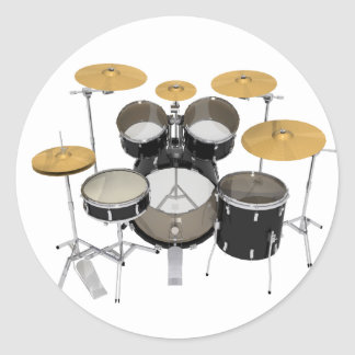 Black Drum Kit: Classic Round Sticker