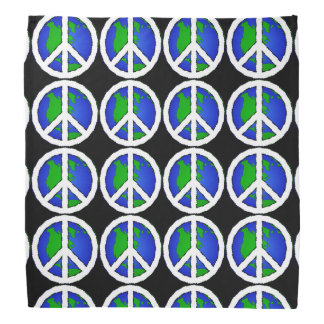 Black Earth Global Peace Sign  Bandanna