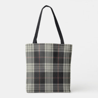 Black Ecru Tan Red Tartan Plaid Tote Bag