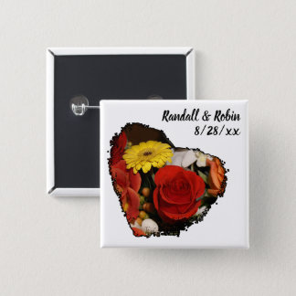 Black Edged Heart Shape Bouquet Photograph 2 Inch Square Button