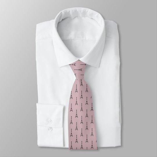 Black Eiffel tower pattern on dusty pink Tie