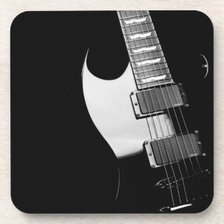Black Electric Guitar Coaster Set