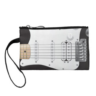 Black Electric Guitar Key Coin Clutch Change Purse