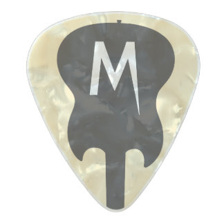 black electric-guitar monogram, cool pearl celluloid guitar pick
