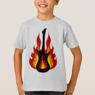 Black Electric Guitar On Fire T-Shirt