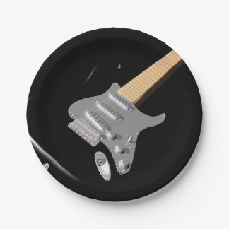 Black Electric Guitar Paper Plates 7 Inch Paper Plate